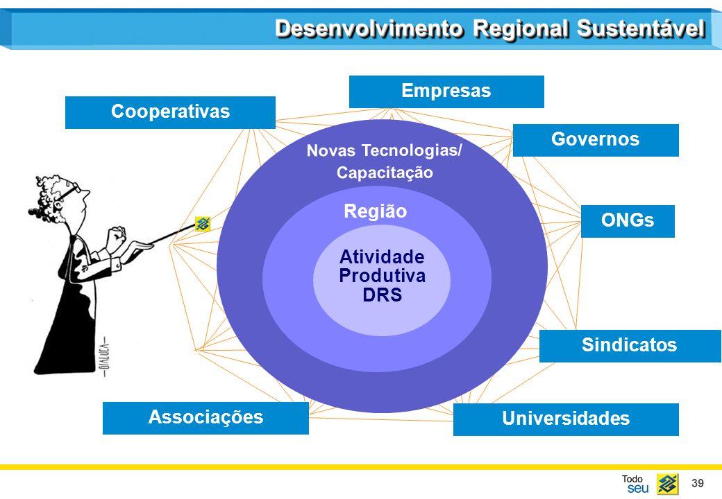 39 Empresas Cooperativas Sindicatos Associações Universidades Governos ONGs Região Atividade Produtiva DRS Novas Tecnologias/ Capacitação Desenvolvime