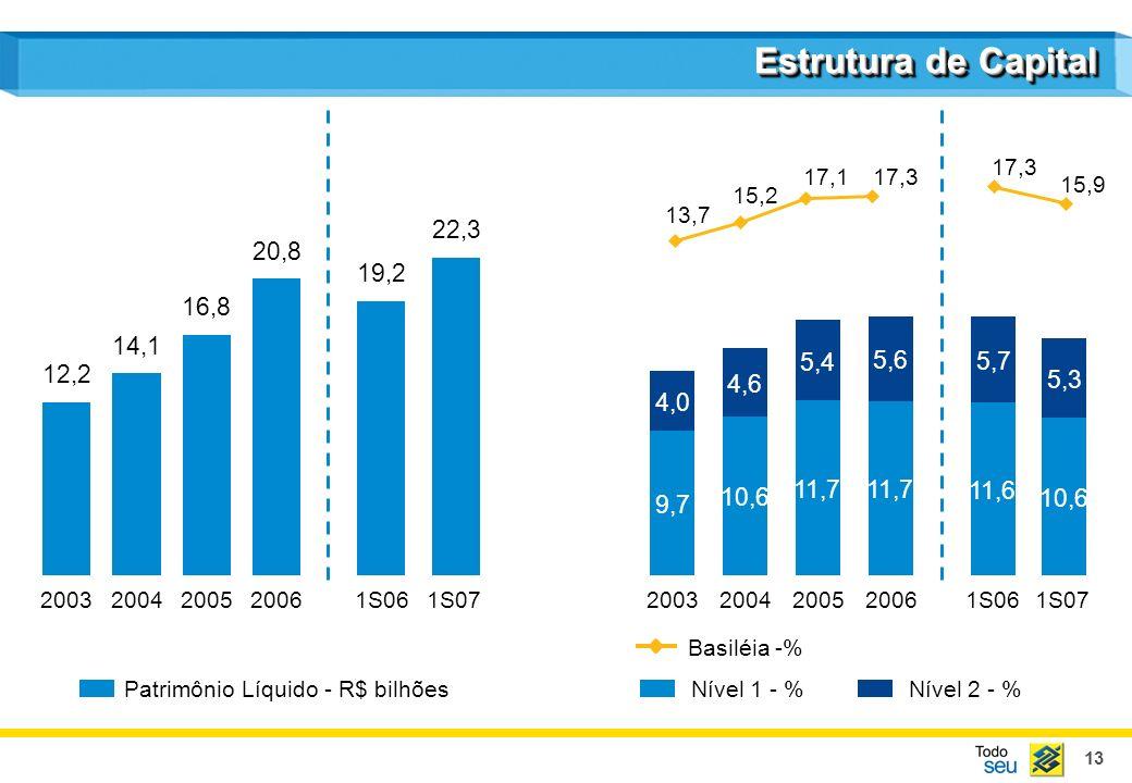 13 Estrutura de Capital Patrimônio Líquido - R$ bilhõesNível 1 - % Basiléia -% Nível 2 - % 12,2 2003 14,1 2004 16,8 2005 20,8 2006 19,2 1S06 1S07 2003