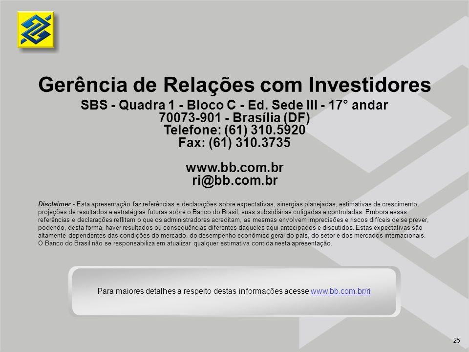 25 Gerência de Relações com Investidores SBS - Quadra 1 - Bloco C - Ed. Sede III - 17° andar 70073-901 - Brasília (DF) Telefone: (61) 310.5920 Fax: (6