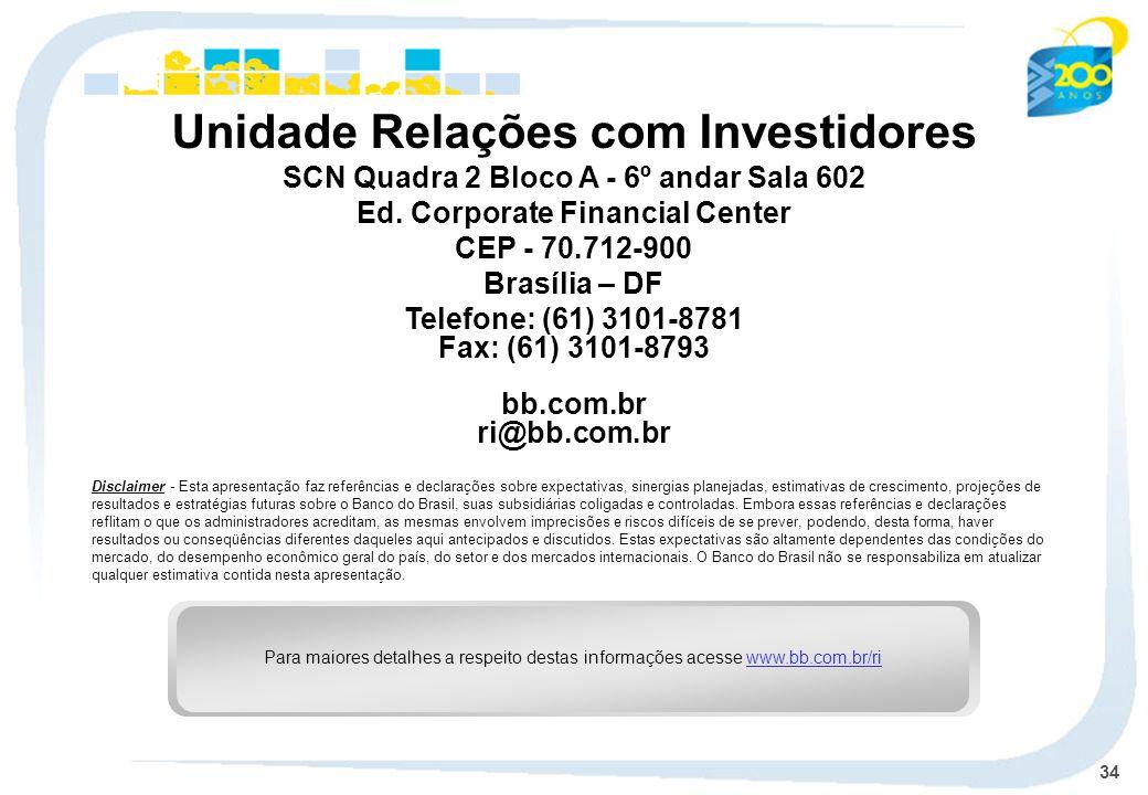34 Unidade Relações com Investidores SCN Quadra 2 Bloco A - 6º andar Sala 602 Ed.