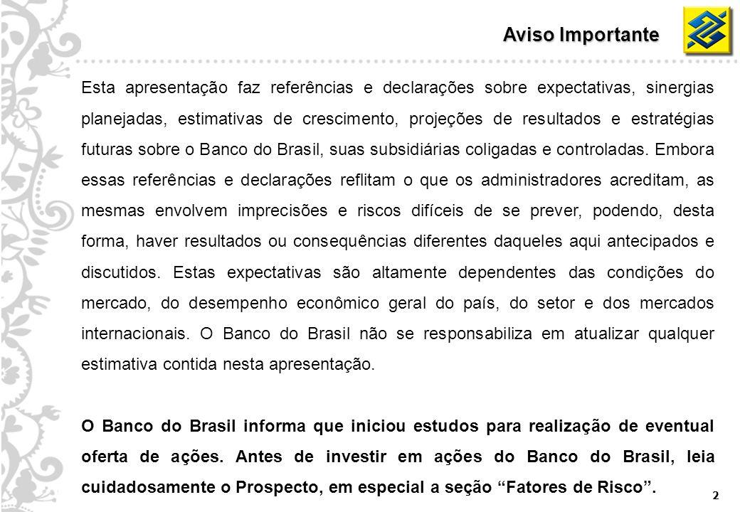 2 Aviso Importante Esta apresentação faz referências e declarações sobre expectativas, sinergias planejadas, estimativas de crescimento, projeções de resultados e estratégias futuras sobre o Banco do Brasil, suas subsidiárias coligadas e controladas.