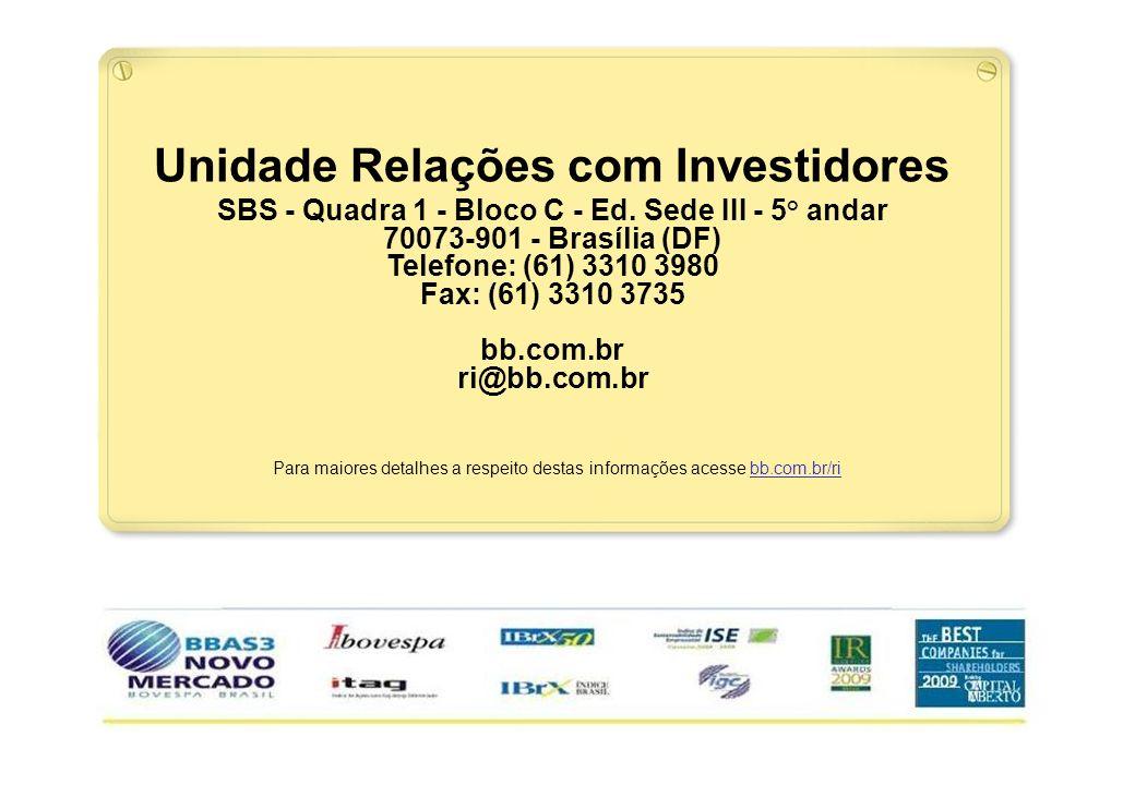 30 Para maiores detalhes a respeito destas informações acesse bb.com.br/ri Unidade Relações com Investidores SBS - Quadra 1 - Bloco C - Ed. Sede III -