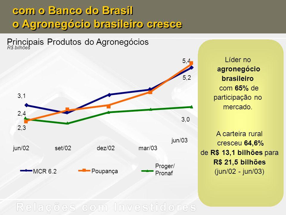 Principais Produtos do Agronegócios R$ bilhões jun/02set/02dez/02mar/03 jun/03 2,4 3,0 3,1 5,2 2,3 5,4 MCR 6.2 Poupança Proger/ Pronaf com o Banco do