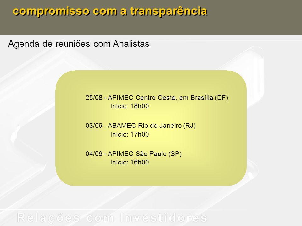 compromisso com a transparência Agenda de reuniões com Analistas 25/08 - APIMEC Centro Oeste, em Brasília (DF) Início: 18h00 03/09 - ABAMEC Rio de Jan