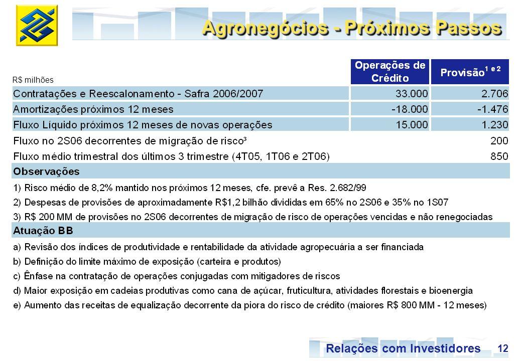 12 Relações com Investidores Agronegócios - Próximos Passos R$ milhões
