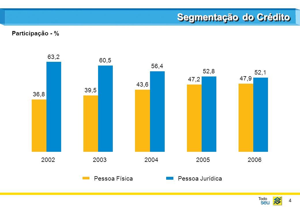4 Segmentação do Crédito Pessoa FísicaPessoa Jurídica 36,8 39,5 43,6 47,2 47,9 63,2 60,5 56,4 52,8 52,1 20022003200420052006 Participação - %