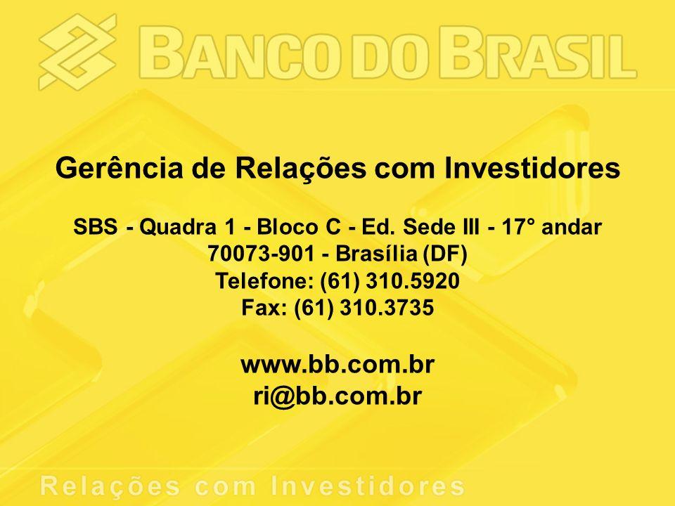 Gerência de Relações com Investidores SBS - Quadra 1 - Bloco C - Ed.