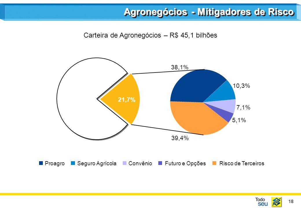 18 5,1% 7,1% 10,3% 39,4% 38,1% 21,7% Risco de Terceiros ProagroSeguro AgrícolaConvênioFuturo e Opções Agronegócios - Mitigadores de Risco Carteira de