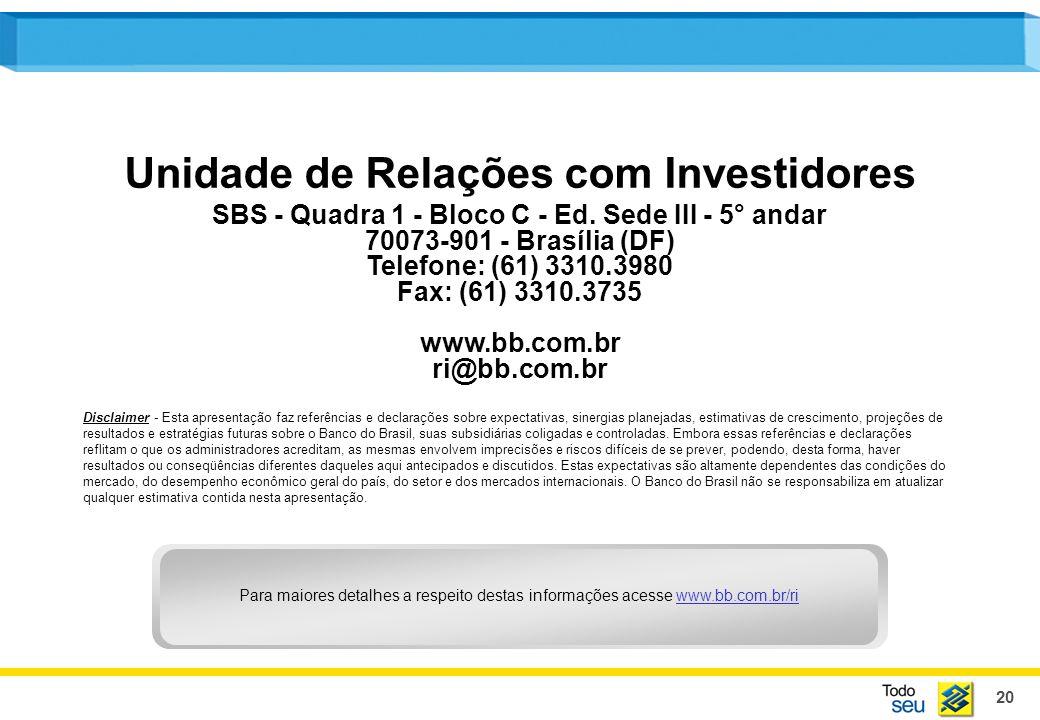 20 Unidade de Relações com Investidores SBS - Quadra 1 - Bloco C - Ed. Sede III - 5° andar 70073-901 - Brasília (DF) Telefone: (61) 3310.3980 Fax: (61