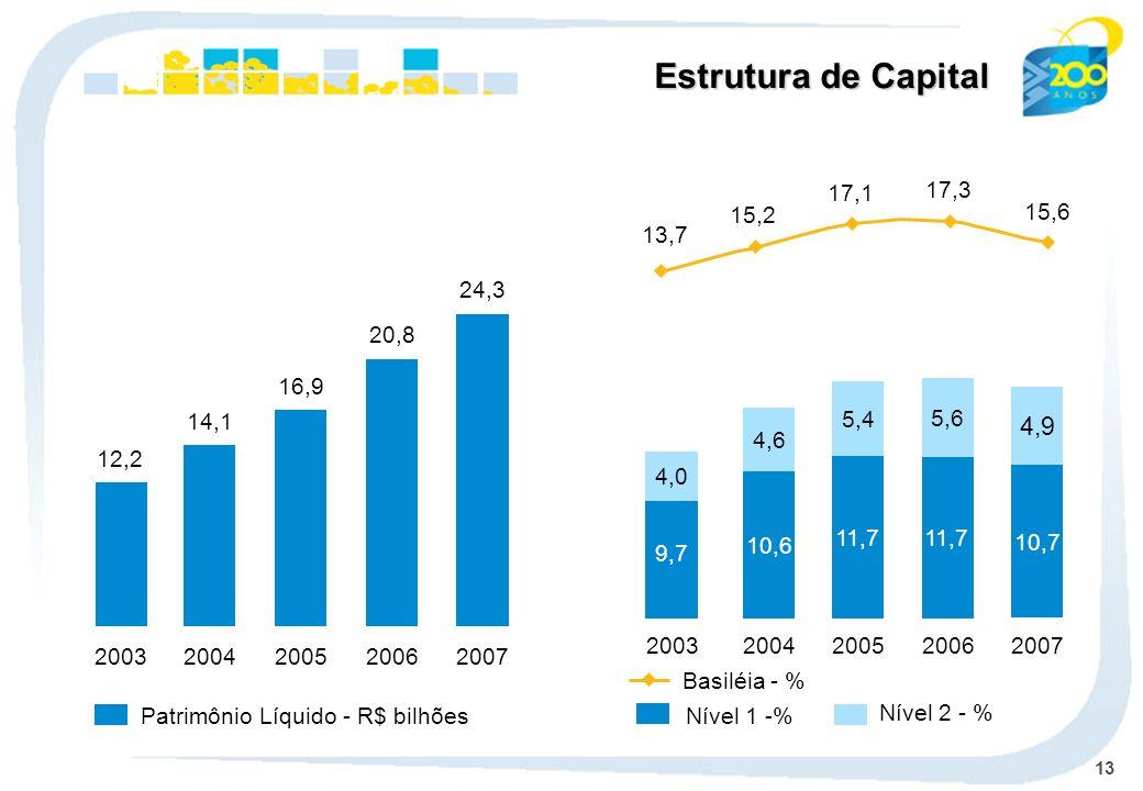 13 Patrimônio Líquido - R$ bilhões Nível 1 -% Nível 2 - % 14,1 2004 16,9 2005 20,8 2006 24,3 2007 12,2 2003 10,6 4,6 2004 11,7 5,4 2005 11,7 5,6 2006