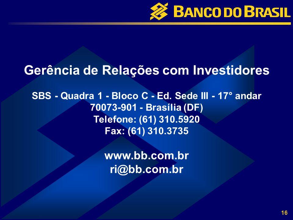 16 Gerência de Relações com Investidores SBS - Quadra 1 - Bloco C - Ed.