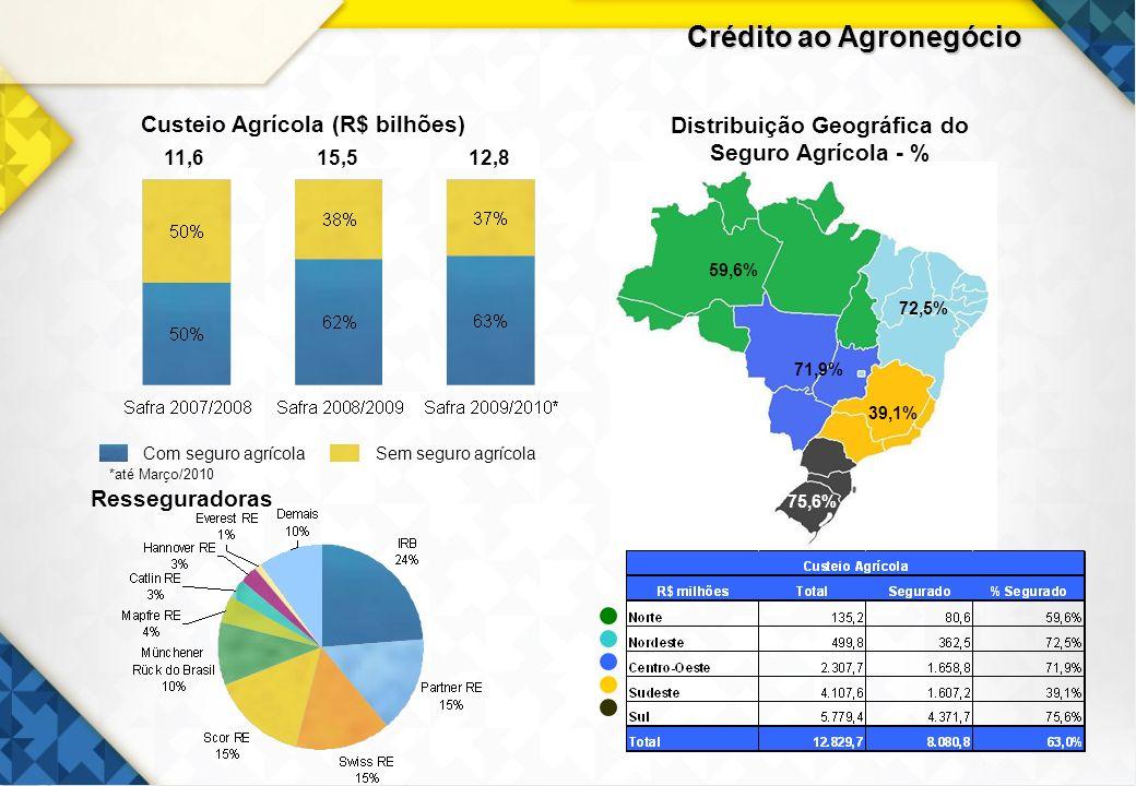 18 Sem seguro agrícola Com seguro agrícola Distribuição Geográfica do Seguro Agrícola - % Custeio Agrícola (R$ bilhões) 59,6% 72,5% 71,9% 39,1% 75,6%