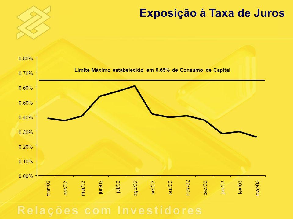 Exposição à Taxa de Juros 0,00% 0,10% 0,20% 0,30% 0,40% 0,50% 0,60% 0,70% 0,80% mar/02 abr/02 mai/02 jun/02 jul/02 ago/02 set/02 out/02 nov/02 dez/02