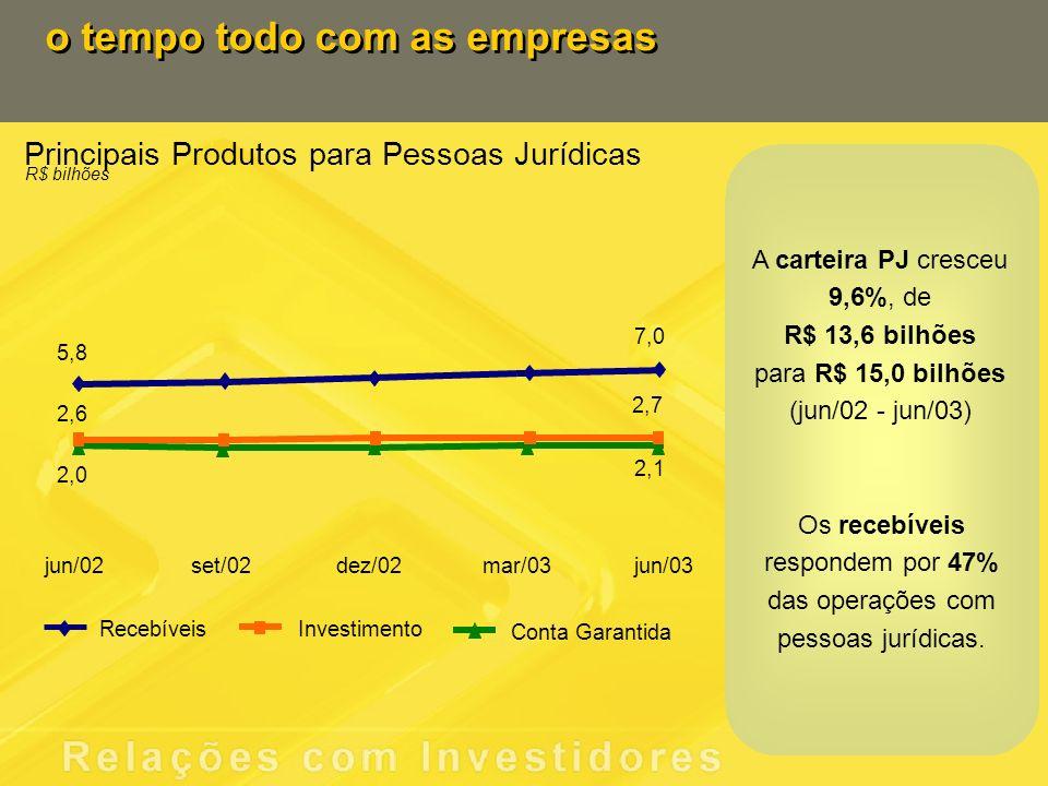 Principais Produtos para Pessoas Jurídicas R$ bilhões o tempo todo com as empresas Recebíveis Conta Garantida Investimento 5,8 7,0 2,0 2,1 2,6 2,7 jun/02set/02dez/02mar/03jun/03 Os recebíveis respondem por 47% das operações com pessoas jurídicas.