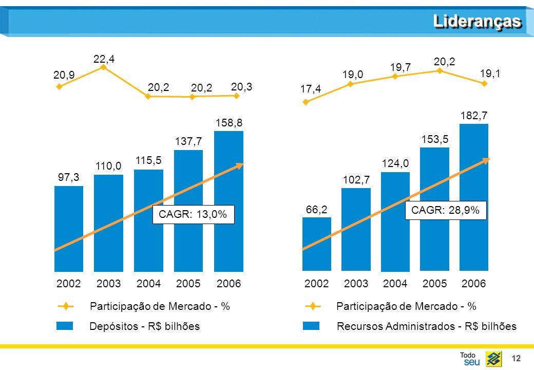 12 20022003200420052006 Participação de Mercado - % 20022003200420052006 Recursos Administrados - R$ bilhões Participação de Mercado - % Depósitos - R$ bilhões 97,3 110,0 115,5 137,7 20,3 20,2 22,4 20,9 66,2 102,7 124,0 153,5 182,7 CAGR: 28,9% 19,1 20,2 19,7 19,0 17,4 158,8 CAGR: 13,0% LiderançasLideranças