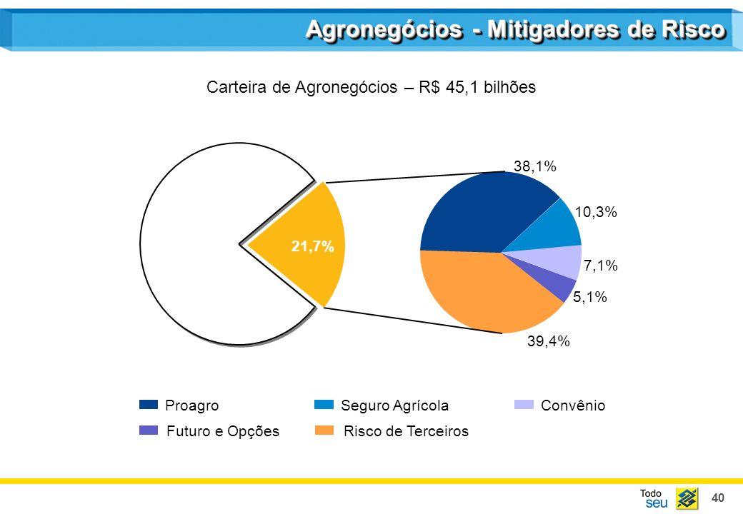 40 5,1% 7,1% 10,3% 39,4% 38,1% 21,7% Risco de Terceiros ProagroSeguro AgrícolaConvênio Futuro e Opções Agronegócios - Mitigadores de Risco Carteira de