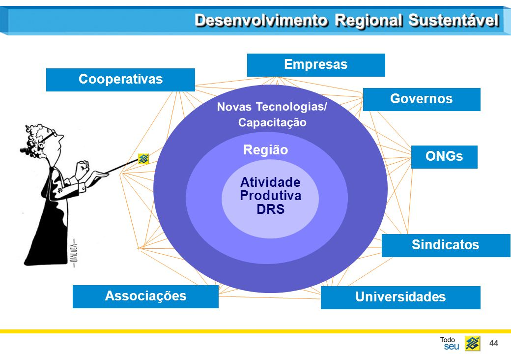44 Empresas Cooperativas Sindicatos Associações Universidades Governos ONGs Região Atividade Produtiva DRS Novas Tecnologias/ Capacitação Desenvolvimento Regional Sustentável