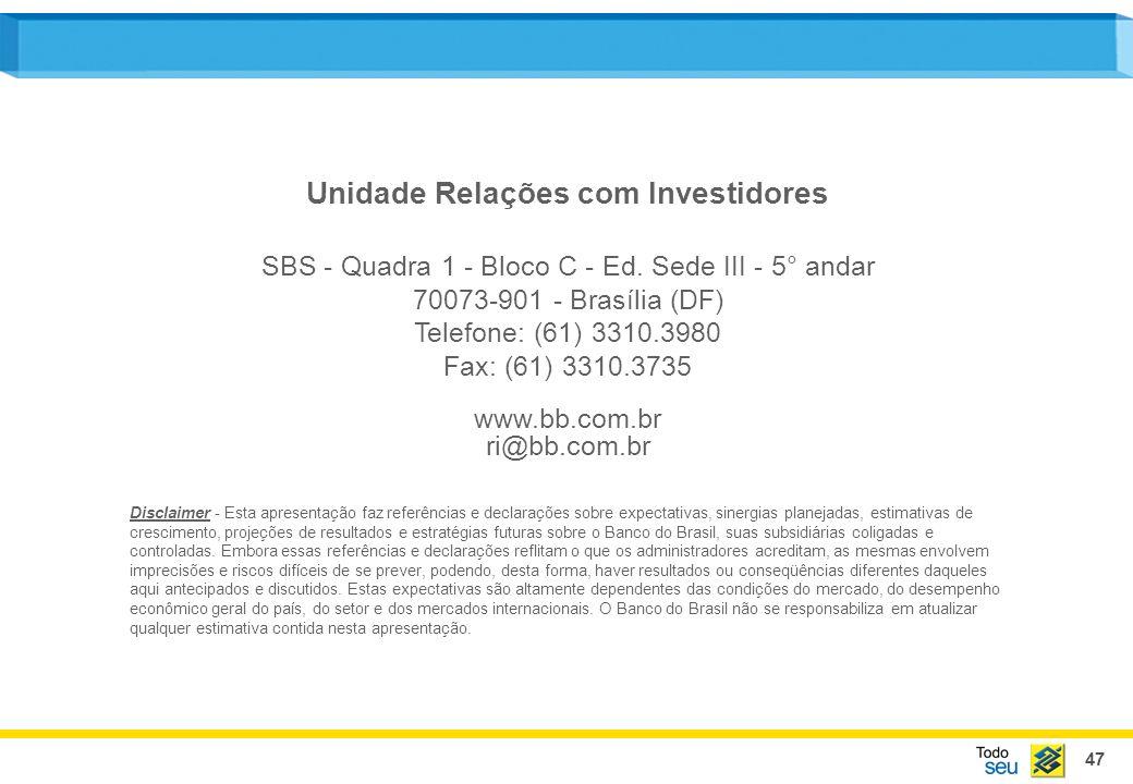 47 Unidade Relações com Investidores SBS - Quadra 1 - Bloco C - Ed. Sede III - 5° andar 70073-901 - Brasília (DF) Telefone: (61) 3310.3980 Fax: (61) 3
