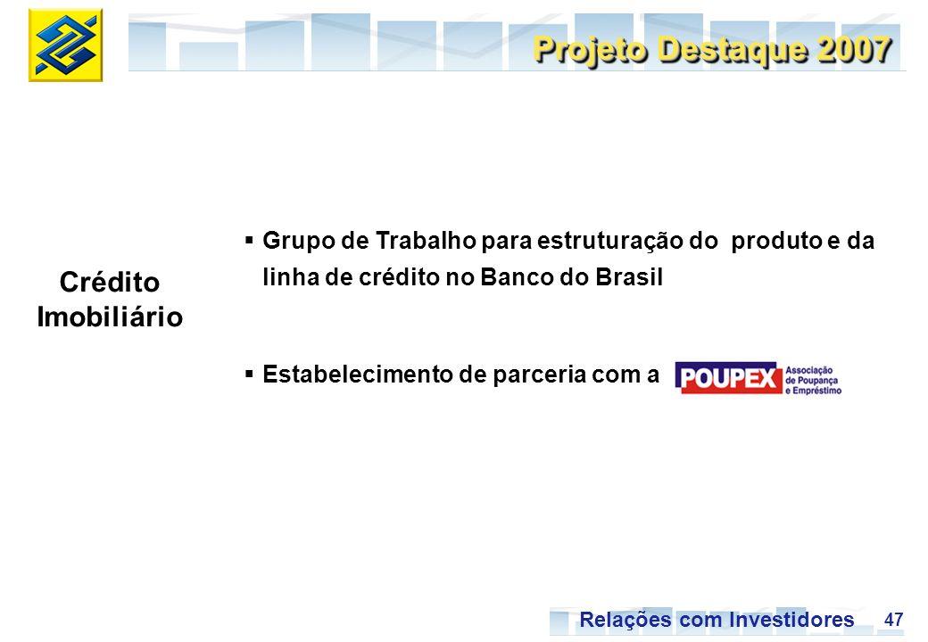 47 Relações com Investidores Projeto Destaque 2007 Crédito Imobiliário Grupo de Trabalho para estruturação do produto e da linha de crédito no Banco do Brasil Estabelecimento de parceria com a