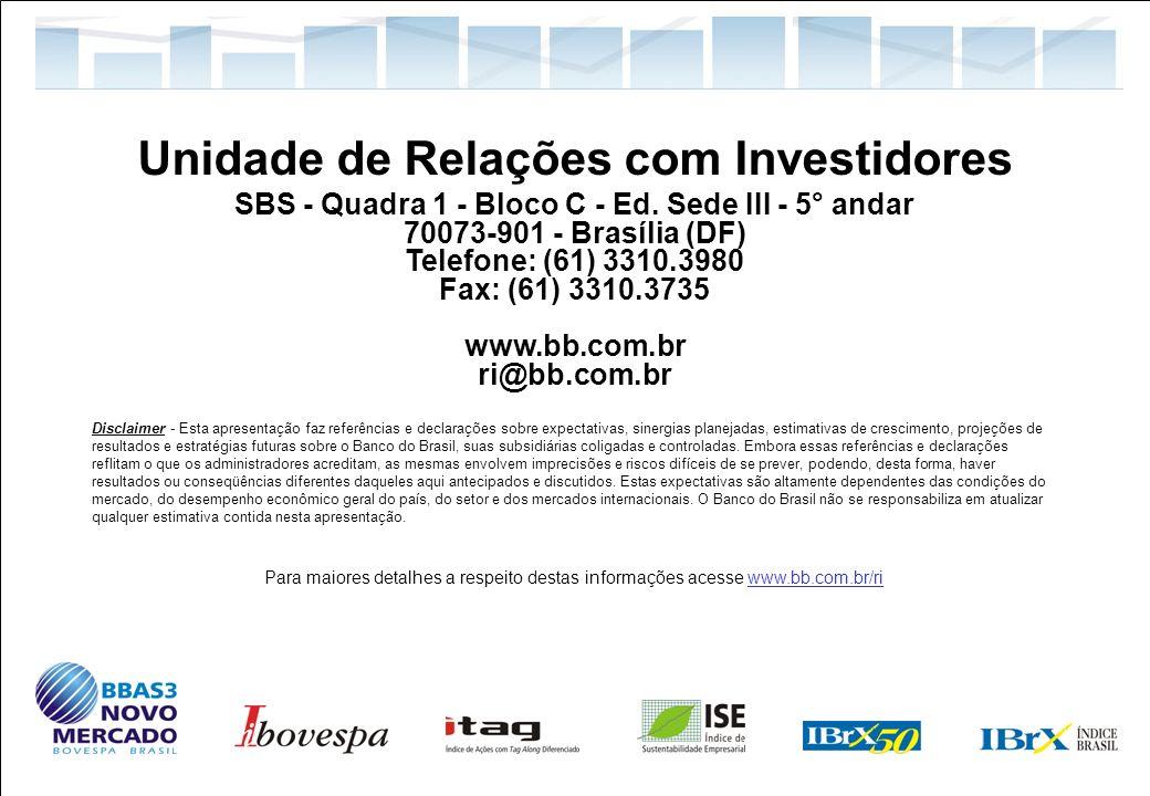 50 Relações com Investidores Unidade de Relações com Investidores SBS - Quadra 1 - Bloco C - Ed. Sede III - 5° andar 70073-901 - Brasília (DF) Telefon
