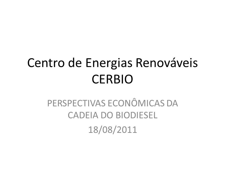 Centro de Energias Renováveis CERBIO PERSPECTIVAS ECONÔMICAS DA CADEIA DO BIODIESEL 18/08/2011