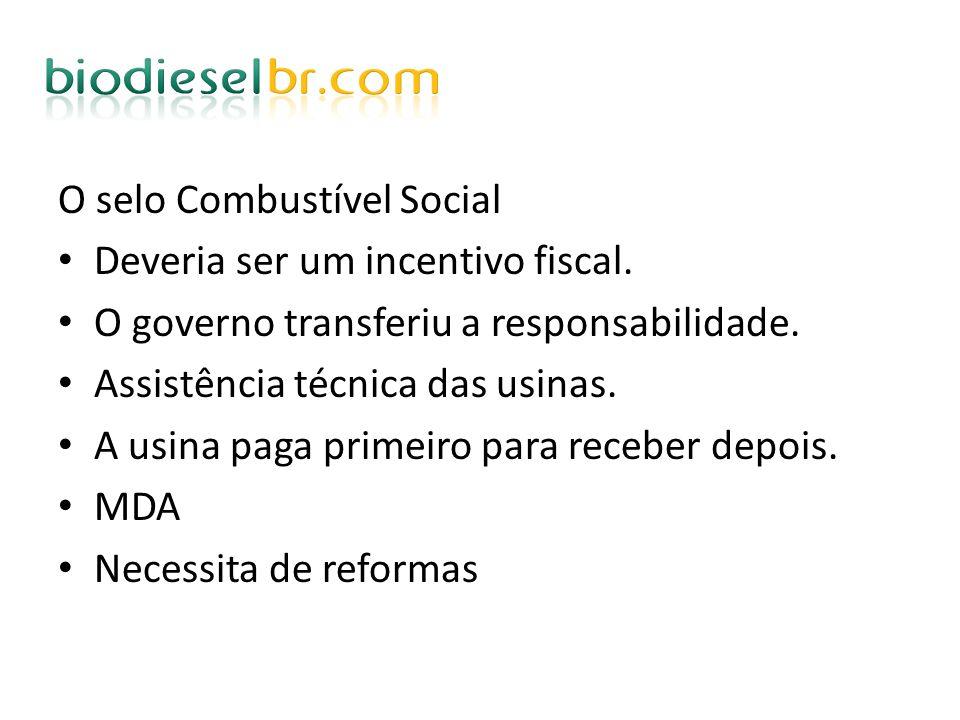 O selo Combustível Social Deveria ser um incentivo fiscal. O governo transferiu a responsabilidade. Assistência técnica das usinas. A usina paga prime