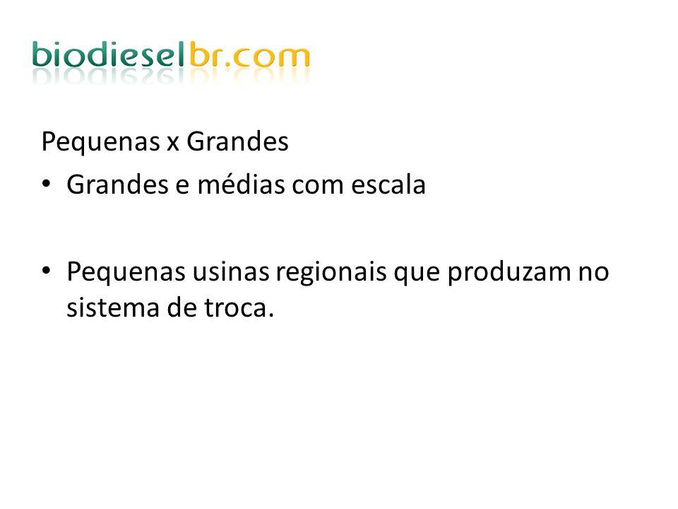 Pequenas x Grandes Grandes e médias com escala Pequenas usinas regionais que produzam no sistema de troca.