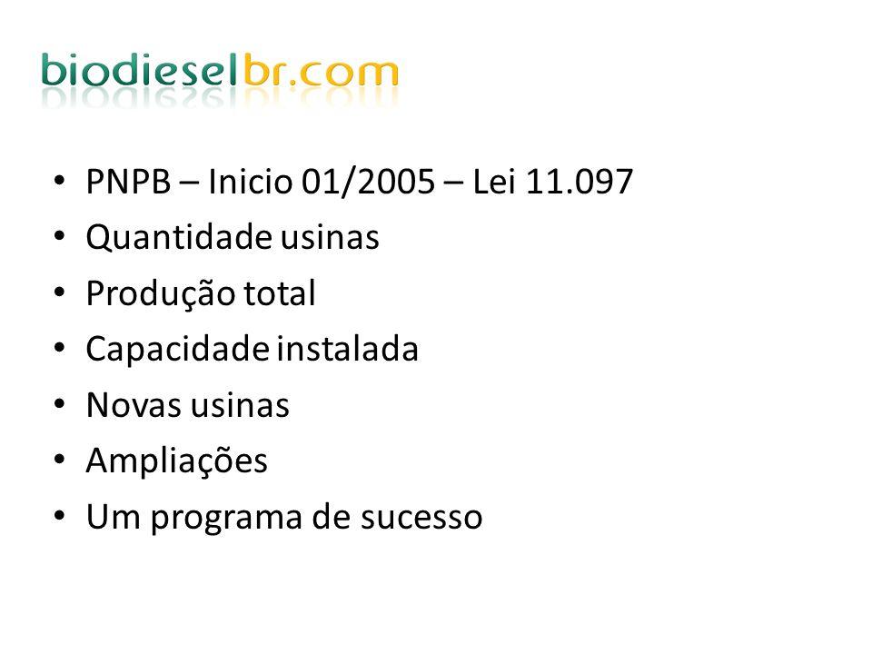 PNPB – Inicio 01/2005 – Lei 11.097 Quantidade usinas Produção total Capacidade instalada Novas usinas Ampliações Um programa de sucesso