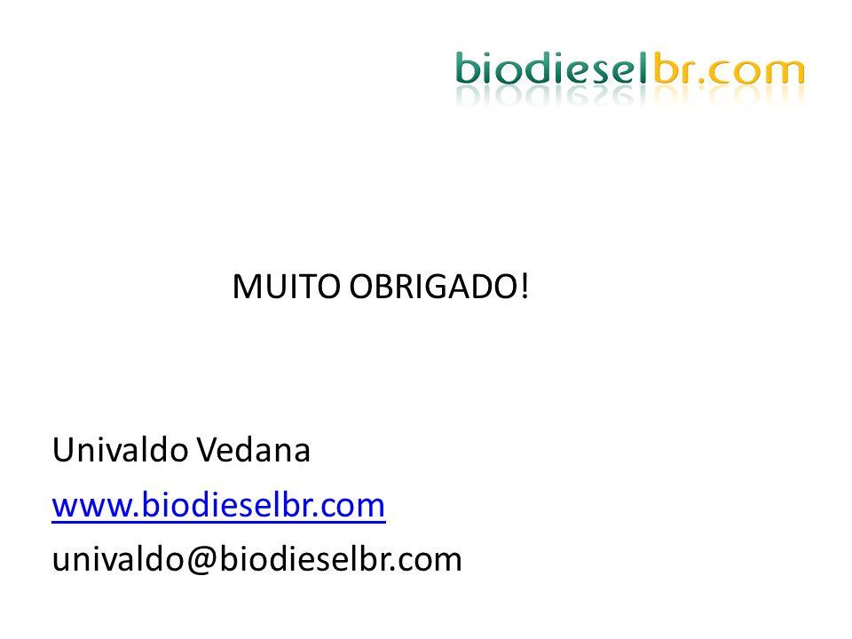 MUITO OBRIGADO! Univaldo Vedana www.biodieselbr.com univaldo@biodieselbr.com