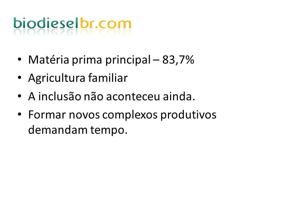 Matéria prima principal – 83,7% Agricultura familiar A inclusão não aconteceu ainda. Formar novos complexos produtivos demandam tempo.