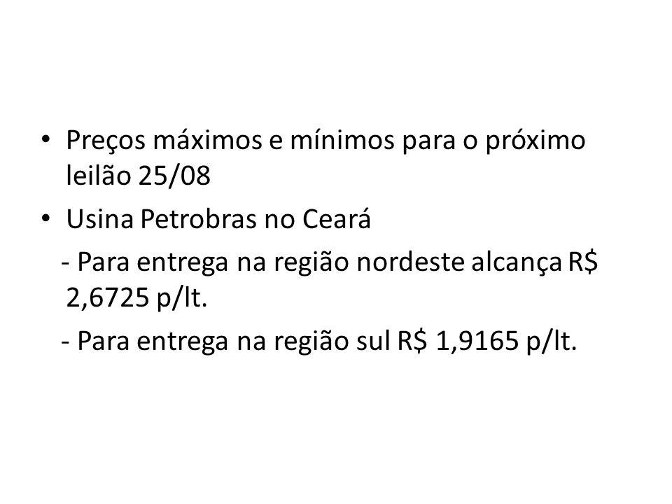 Preços máximos e mínimos para o próximo leilão 25/08 Usina Petrobras no Ceará - Para entrega na região nordeste alcança R$ 2,6725 p/lt. - Para entrega