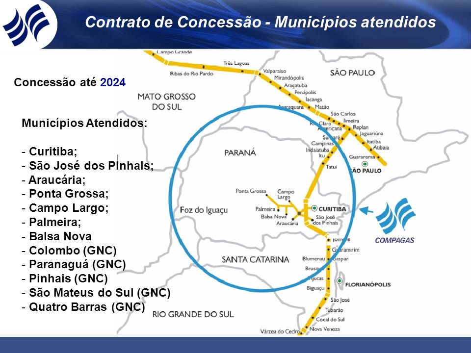 Contrato de Concessão - Municípios atendidos Municípios Atendidos: - Curitiba; - São José dos Pinhais; - Araucária; - Ponta Grossa; - Campo Largo; - P