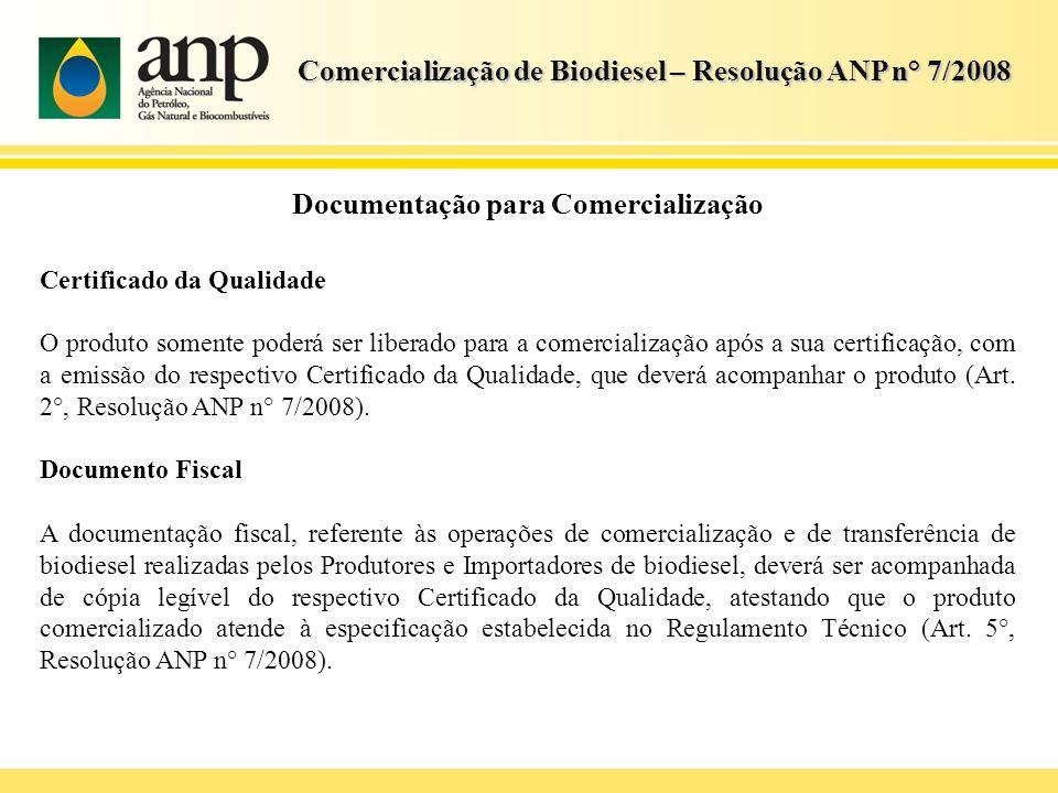 Comercialização de Biodiesel – Resolução ANP n° 7/2008 Documentação para Comercialização Certificado da Qualidade O produto somente poderá ser liberad