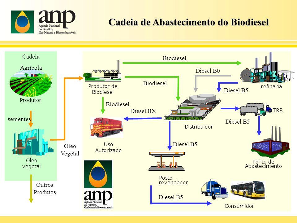Cadeia de Abastecimento do Biodiesel Produtor de Biodiesel Produtor sementes Óleo vegetal Óleo Vegetal Biodiesel Cadeia Agrícola Distribuidor refinari
