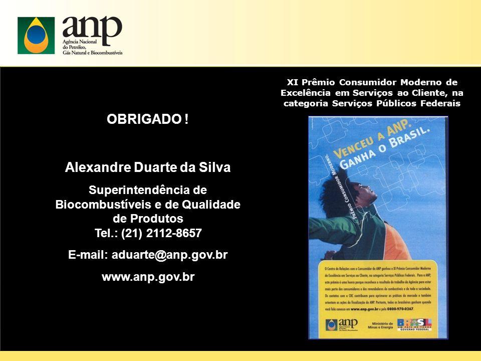 27 OBRIGADO ! Alexandre Duarte da Silva Superintendência de Biocombustíveis e de Qualidade de Produtos Tel.: (21) 2112-8657 E-mail: aduarte@anp.gov.br