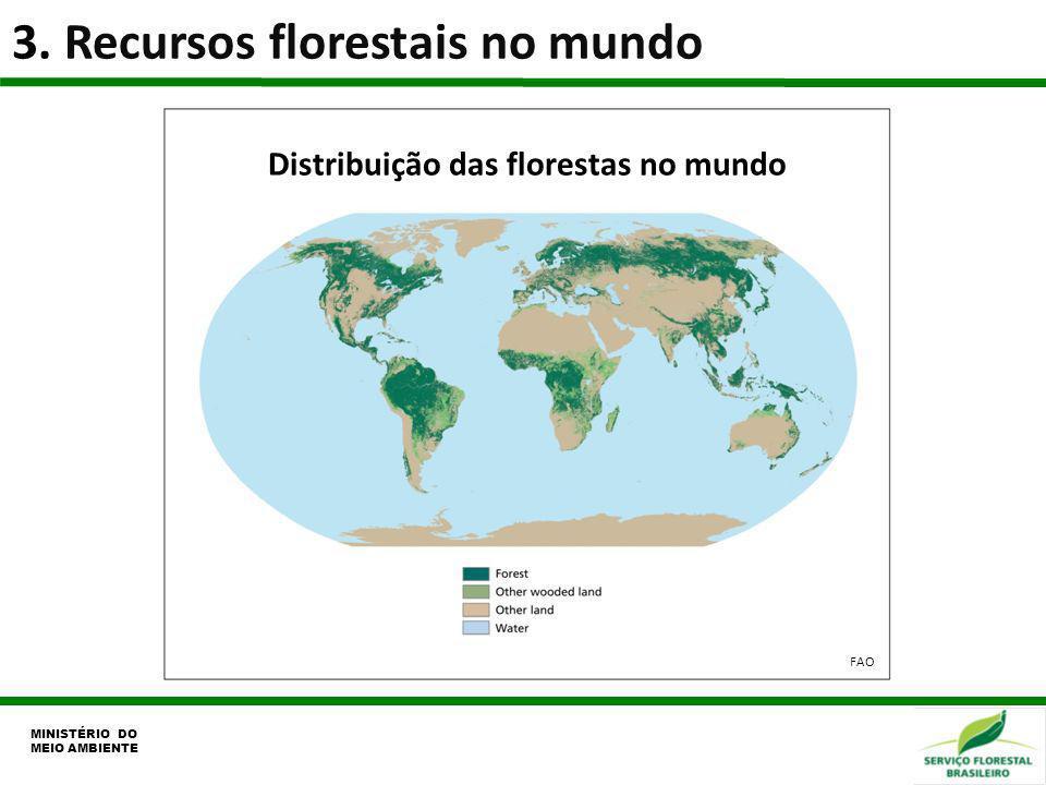 3. Recursos florestais no mundo MINISTÉRIO DO MEIO AMBIENTE Distribuição das florestas no mundo FAO