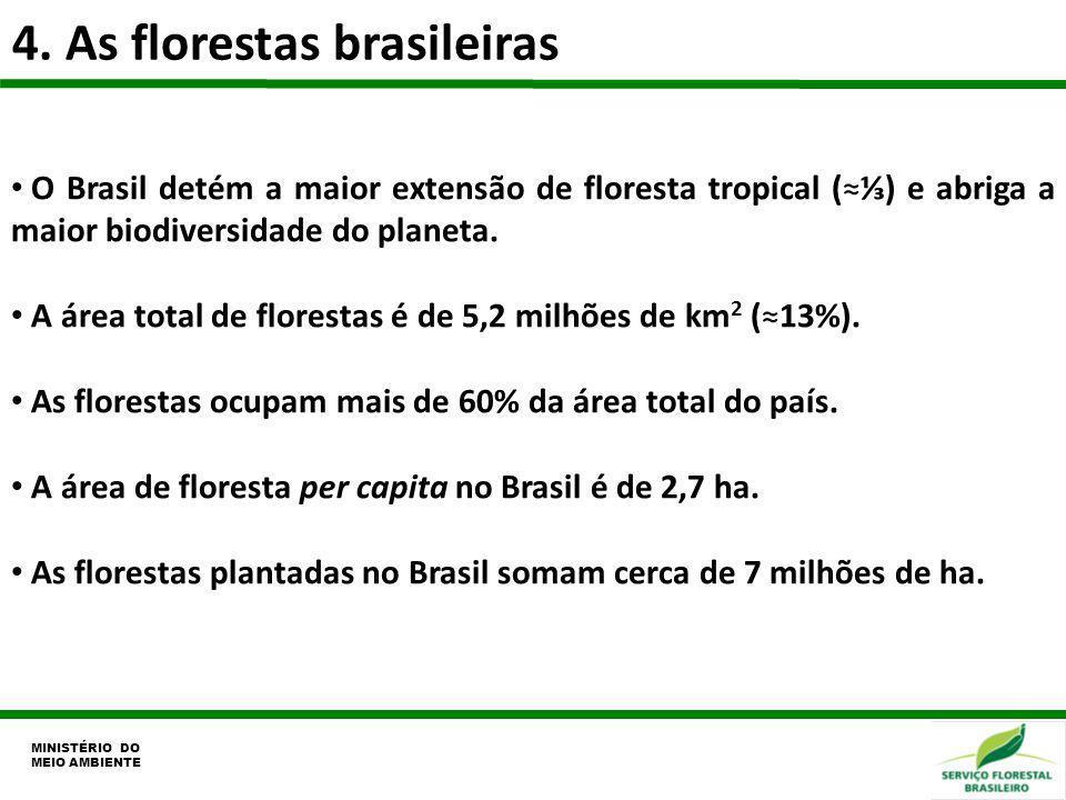 4. As florestas brasileiras MINISTÉRIO DO MEIO AMBIENTE O Brasil detém a maior extensão de floresta tropical () e abriga a maior biodiversidade do pla
