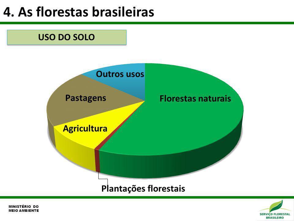 4. As florestas brasileiras Florestas naturais Outros usos USO DO SOLO MINISTÉRIO DO MEIO AMBIENTE