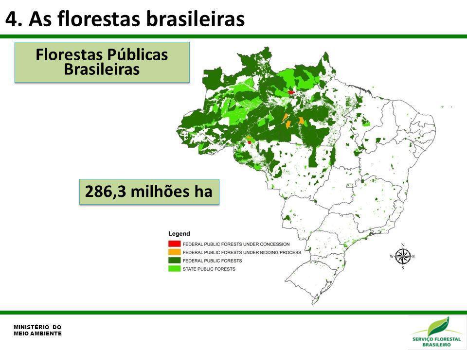 4. As florestas brasileiras Florestas Públicas Brasileiras 286,3 milhões ha MINISTÉRIO DO MEIO AMBIENTE