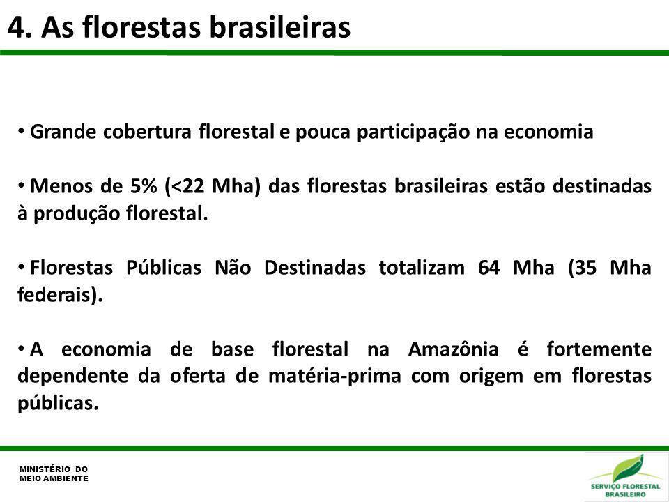 4. As florestas brasileiras MINISTÉRIO DO MEIO AMBIENTE Grande cobertura florestal e pouca participação na economia Menos de 5% (<22 Mha) das floresta