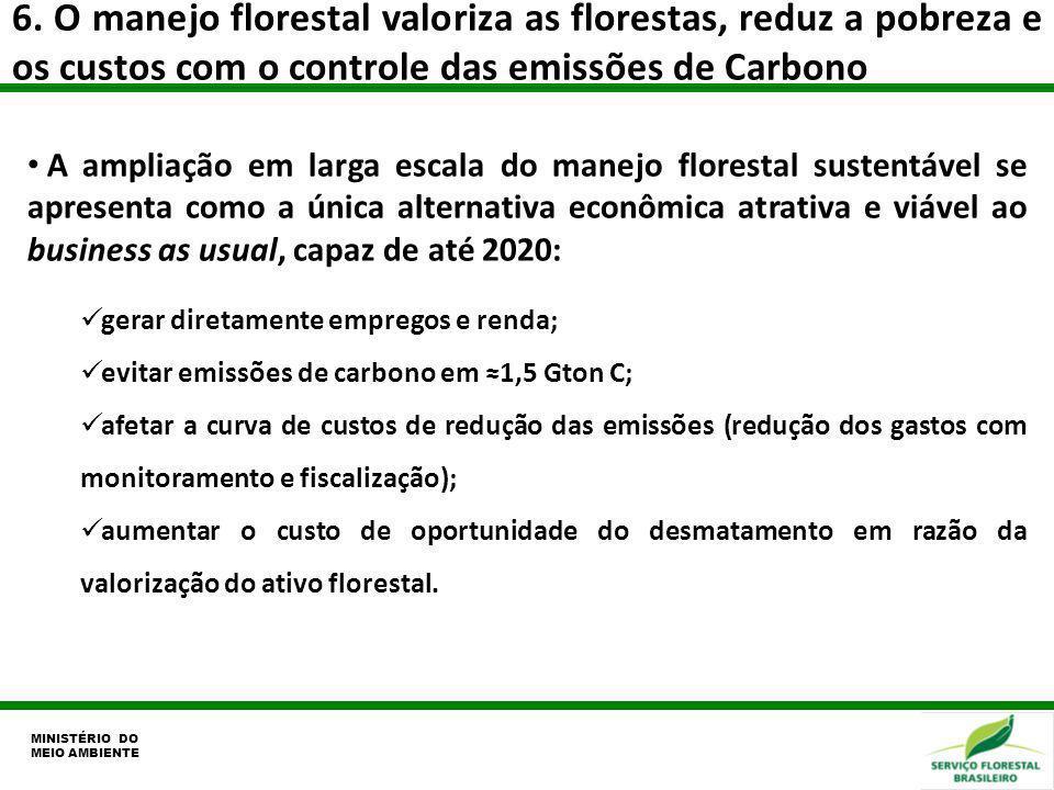 6. O manejo florestal valoriza as florestas, reduz a pobreza e os custos com o controle das emissões de Carbono MINISTÉRIO DO MEIO AMBIENTE A ampliaçã