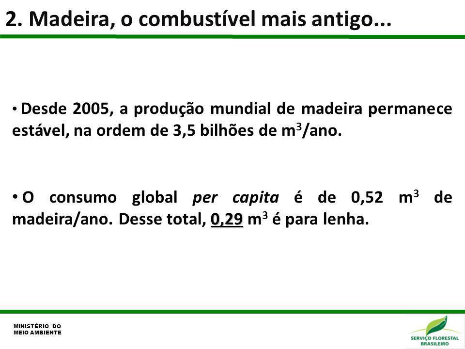 2. Madeira, o combustível mais antigo... MINISTÉRIO DO MEIO AMBIENTE Desde 2005, a produção mundial de madeira permanece estável, na ordem de 3,5 bilh