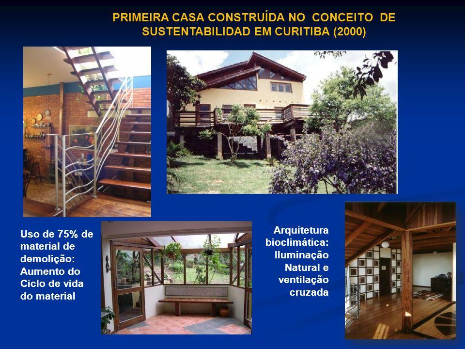 PRIMEIRA CASA CONSTRUÍDA NO CONCEITO DE SUSTENTABILIDAD EM CURITIBA (2000) Arquitetura bioclimática: Iluminação Natural e ventilação cruzada Uso de 75