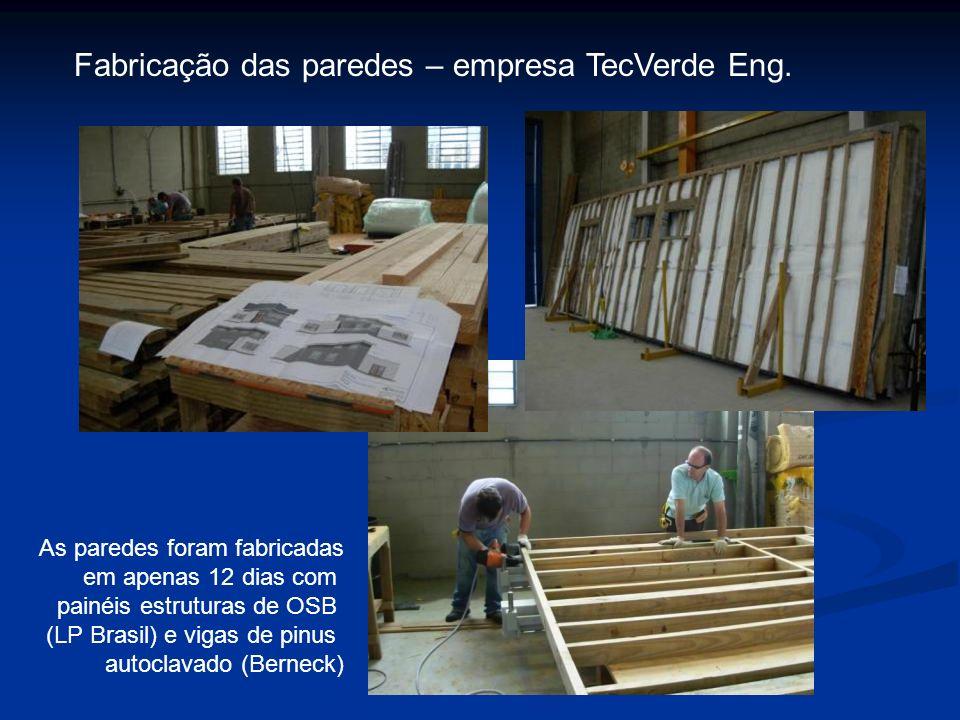 Fabricação das paredes – empresa TecVerde Eng. As paredes foram fabricadas em apenas 12 dias com painéis estruturas de OSB (LP Brasil) e vigas de pinu