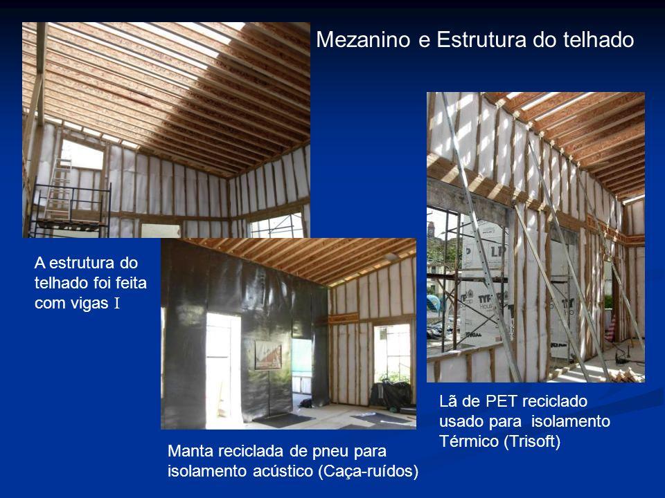 Mezanino e Estrutura do telhado Lã de PET reciclado usado para isolamento Térmico (Trisoft) A estrutura do telhado foi feita com vigas I Manta recicla