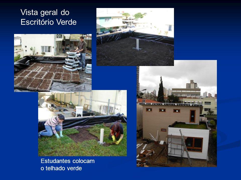 Vista geral do Escritório Verde Estudantes colocam o telhado verde