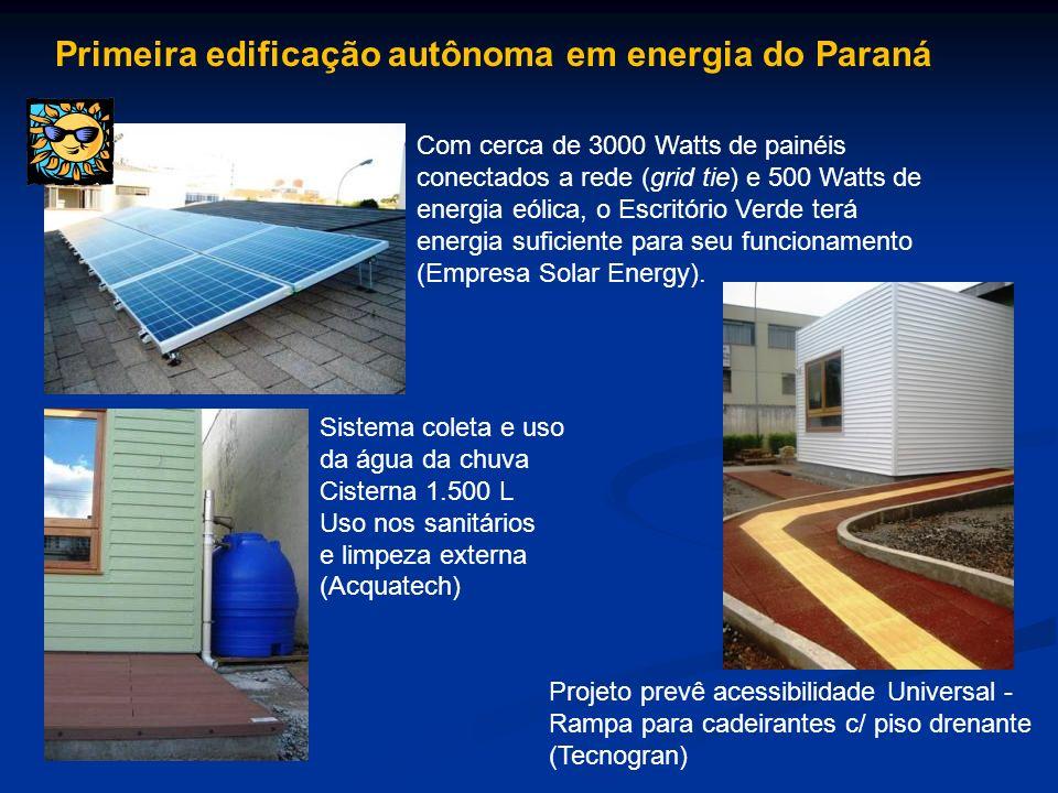 Sistema coleta e uso da água da chuva Cisterna 1.500 L Uso nos sanitários e limpeza externa (Acquatech) Projeto prevê acessibilidade Universal - Rampa