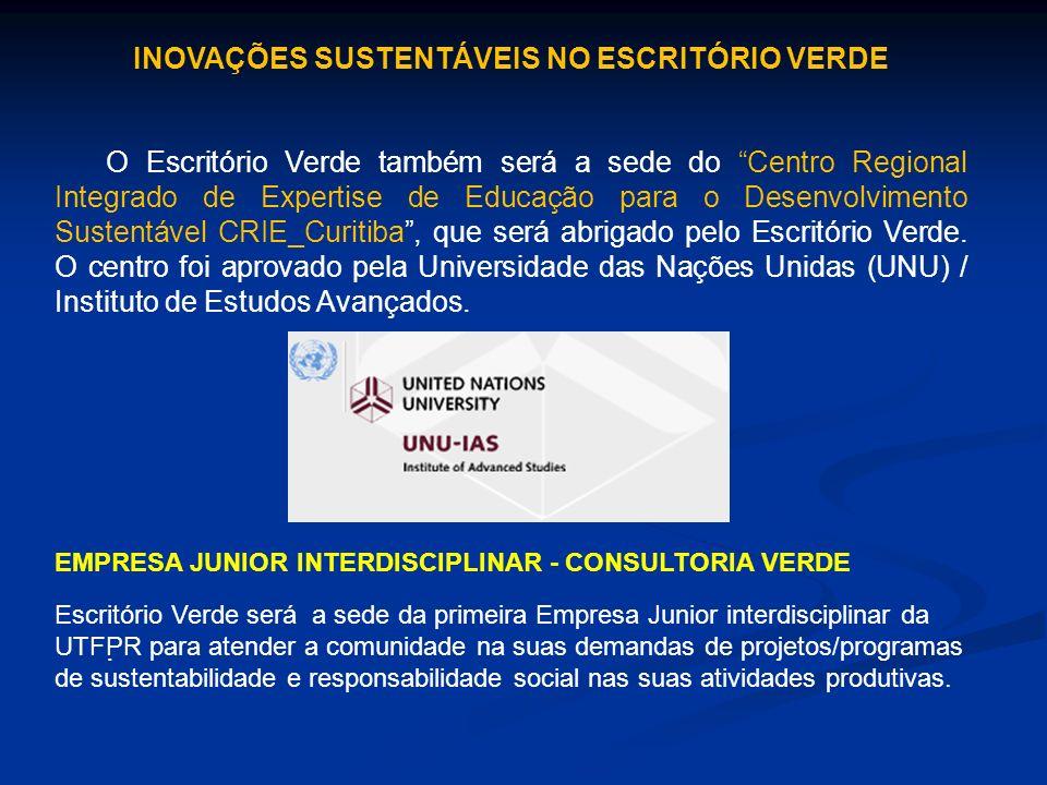 O Escritório Verde também será a sede do Centro Regional Integrado de Expertise de Educação para o Desenvolvimento Sustentável CRIE_Curitiba, que será