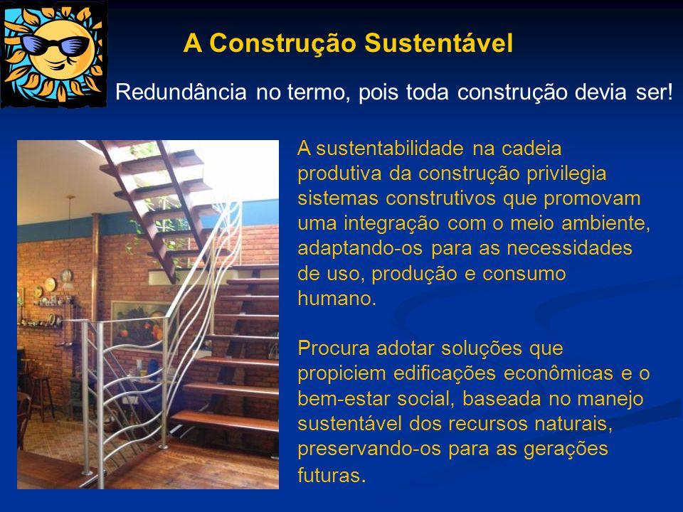 A Construção Sustentável A sustentabilidade na cadeia produtiva da construção privilegia sistemas construtivos que promovam uma integração com o meio