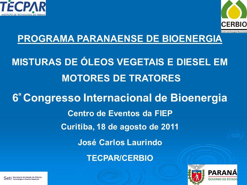 PROGRAMA PARANAENSE DE BIOENERGIA MISTURAS DE ÓLEOS VEGETAIS E DIESEL EM MOTORES DE TRATORES 6 º Congresso Internacional de Bioenergia Centro de Event